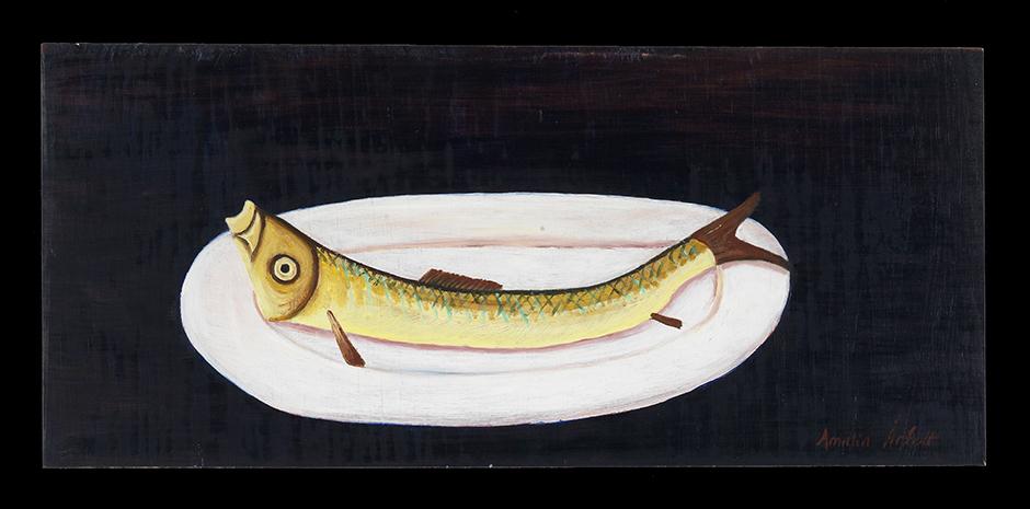 "Amalia Årfelt.""Fisk på fat"", 23x 51cm, olja på pannå. Fotograf Per-Erik Adamsson."